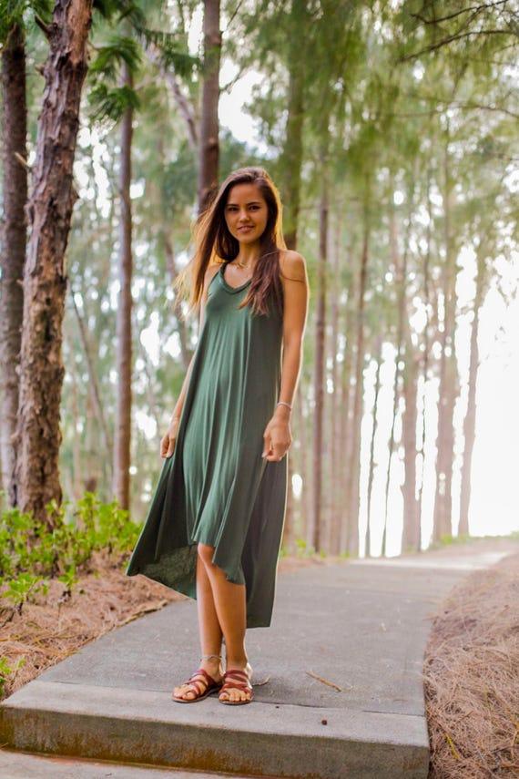Fern High-Low Maxi Dress / Olive Green
