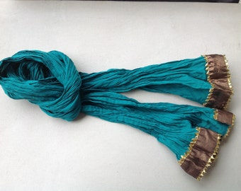 Copper and green Vintage Kids crinkled cotton Long Scarf