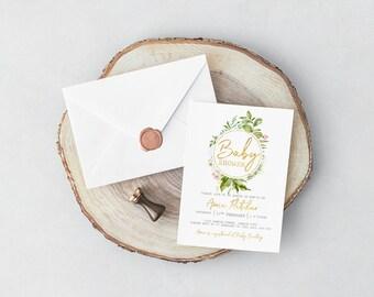 Baby Shower | Digital Invitations | Gold | Greenery | Personalised | Printable