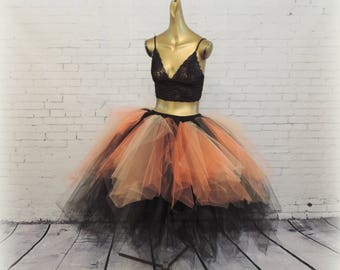 Orange  black tea length tutu witch costume womens tutu sewn tutu steampunk tutu skirt Halloween costume  tutu