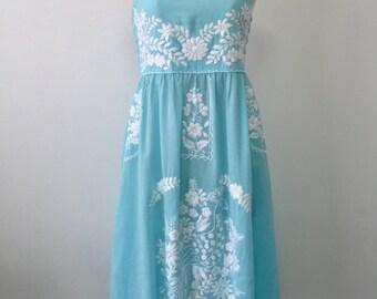 Embroidered Sundress Cotton Strapless Dress In Blue, Wedding Dress, Beach Dress, Boho Dress