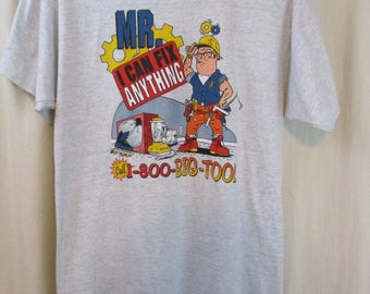 Vintage 80s Novelty Mr I Can Fix Anything Big Tool Humor Tee T Shirt Sz L