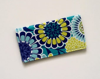 Floral Checkbook Cover, Blue Checkbook Cover, Fabric Checkbook Cover, Checkbook Case, Checkbook Holder