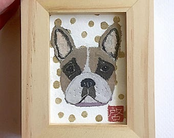 French Bulldog Art, Fawn Pied Frenchie Gift, ACEO Original, Framed or Unframed