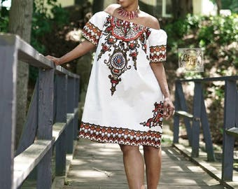 African Clothing for Women: N Y O T A African  Print Dress in White (Flutter sleeve shown) - K u k u a Collection Summer Capsule