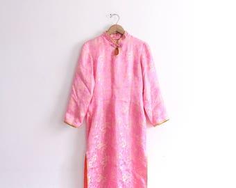 Bold Pink Chinese Silky Midi Dress