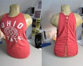 Ohio State Refashioned Red T-Shirt into Tank Top with Back and Side Woven Cut-Outs