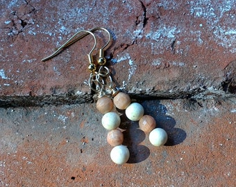 Sunstone and Riverstone Earrings - Sunstone - Riverstone - Earrings