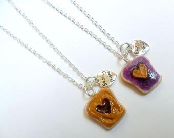 ON SALE Peanut Butter Jelly Heart Necklace Set, Best Friend's BFF Charm Necklace, Cute :D