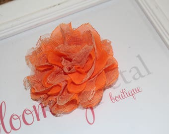 Orange Lace Chiffon Flower Clip
