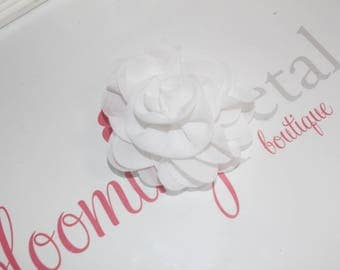 White Chiffon Rose Flower Clip