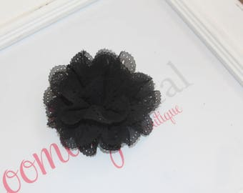 Black Eyelet Flower Hair Clips