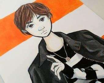 Original INKtober Fashion Piece - Leather Jacket, Original Art, Original Artwork, Original Drawing, Original Ink, Fashion Art Piece