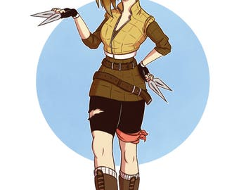 Punk Girl with Knives [Fashion Art Print] Pokemon Sandslash Gijika, Digital Art Print, Original Art Print, Fashion Artwork