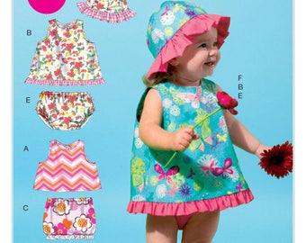 DARLING SUMMER Outfits for BABY, Pattern by McCall's, easy sew, M 6539