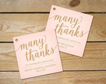 Pink and Gold Thank You Tags Printable // Pink Wedding Favor Tags // Editable Place Card Tags, Instant Download