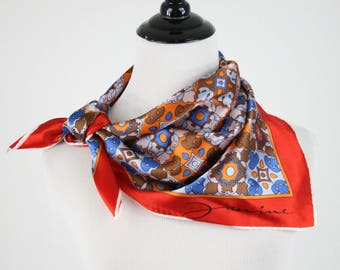 1970s Repeating Motif Red Border Acetate Square Scarf by Janine