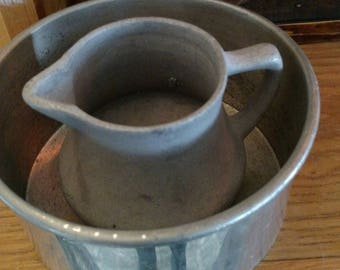 Vintage Pewter Pitcher and Bowl