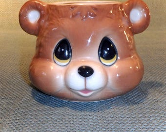Ceramic Bear Face Mug - Ronnie's Ceramic of San Francisco - Vintage Hand Painted