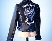 MOTORHEAD denim and leather biker jacket