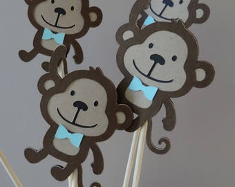 Set of 10 Monkey Centerpieces with Blue Bowtie