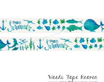 """NEW """"Summer Ocean"""" Washi Tape - 30mm x 7m - Beach Vacation Planners Decoration Paper Crafting Supply"""