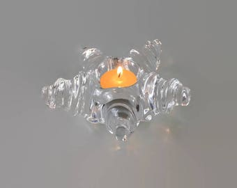 Orrefors Crystal Starfish Votive Candle Holder * Sweden * Swirled Star * Hard to Find