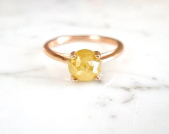 Yellow Diamond Ring, Rose Cut Diamond Ring, Round Diamond, 14kt Rose Gold, OOAK, Conflict Free, Solitaire Yellow Diamond Ring, Natural
