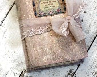 Fairytale wedding guest book, Blush pink, photo album, shabby chic wedding Photo booth album - 8.5x6 inch Made To Order