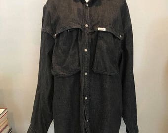 Vintage 80s 90s Guess Western Spirit Shirt Denim Jeans Hip Hop Grunge Guess Jeans Marciano Medium Black Chambray Spellout Striped Cowboy