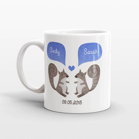SQUIRREL Mug Valentines Day Gift for Her for Him Animal Couple Mug Personalized Anniversary Gift Unique Wedding Gift Coffee Mug Coffee Cup