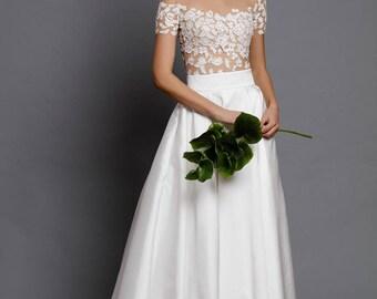 lace blouse - ecru bodysuit - bridal separate - wedding bodysuit - wedding top - romantic gown top - off shoulder lace top