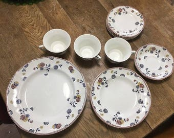 Adams English Ironstone Made In England Vermont pattern dish lot 15 piece