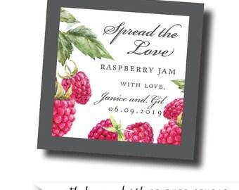 Raspberry jam labels, raspberry jam favors, raspberry favors, jam labels