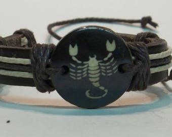 Scorpio Zodiac Bracelet Astrology Sign Star Leather Unisex Friendship Band Summer Fun Adjustable One Size Fits All For Men Women Gift Idea
