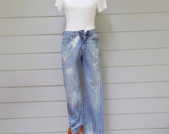 Paint Brush Bleached Denim Jeans, Chaps Straight Fit, Size 30/32