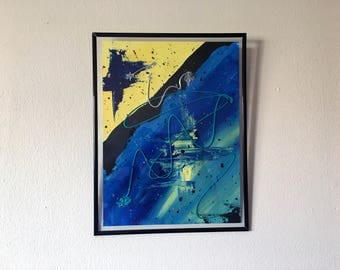 Framed Abstract Acrylic Painting 13x10""