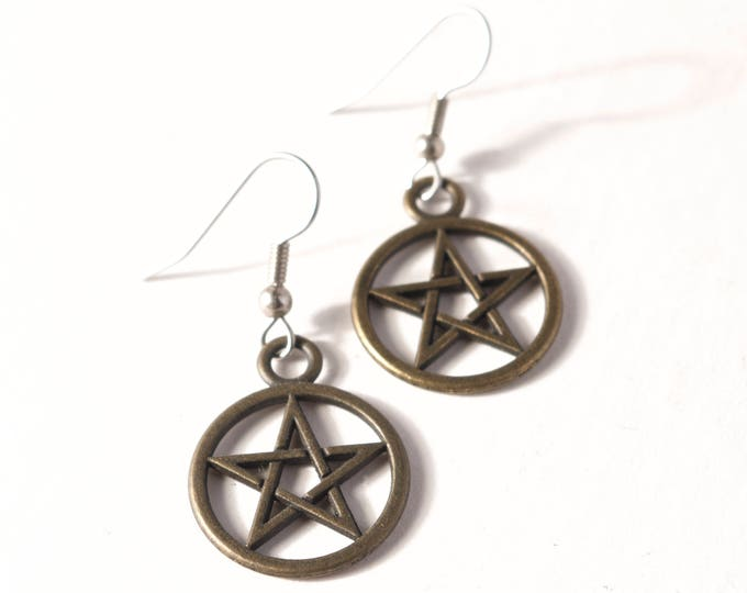 Antique Brass Pentacles with your choice of Sterling Silver or Hypoallergenic Surgical Stainless Steel Ear Wires