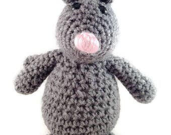 Handmade Crochet Amigurumi Gray Mouse Rat Plush Stuffed Animal Plushie Toy Pet