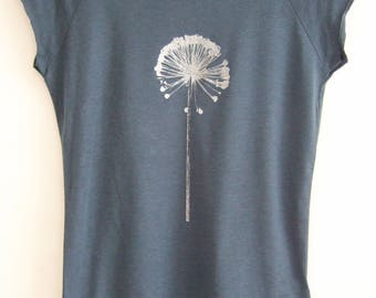 Allium Seedhead Womens bamboo organic T shirt denim blue and silver hand printed