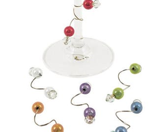 Curlz Wine Glass Charms For Stemmed Glasses - Pack Of 6