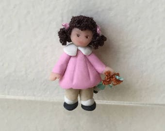 "Dollhouse Miniature 1"" scale Fimo Girl Child dressed in Pink  (JL)"
