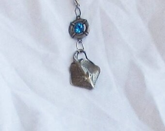 Necklace, silver pewter, sting ray, turquoise, glass, beachy, C, Jewelry