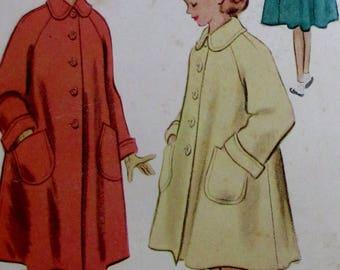 Vintage 1951  McCalls Girls Coat  Pattern  #8676  Size 10