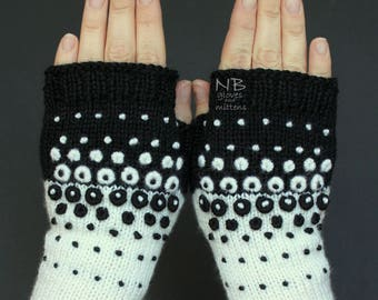 Hand Knitted Fingerless Gloves, Black, White, Dots, Ornament, Embroidered Pattern, Clothing And Accessories, Gloves & Mittens, Gift Ideas