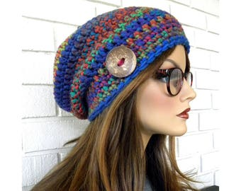 Colorful Slouchy Hat, Muti-color hat, Handmade Hat, Winter Hat,Warm Hat, Slouchy Beanie, Gift for Teens or Women, Ready to ship