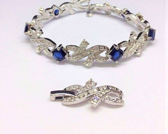Jackie Kennedy Bracelet - Rhodium Plated, Crystals and Faux Sapphires - Sz 7 or 8