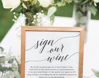 Sign Our Wine Personalized Guestbook Sign // Unique Guestbook Ideas