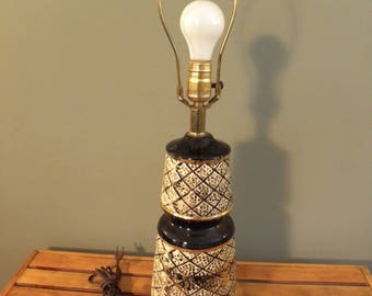 Mid Century Modern Hollywood Regency Lamp Gold and Black Lamp