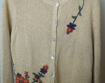 1980s yellow silk sweater with embroidery